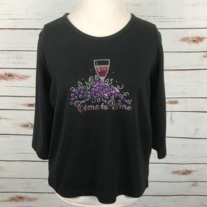 Christine Alexander Black Knit Top Time To Wine